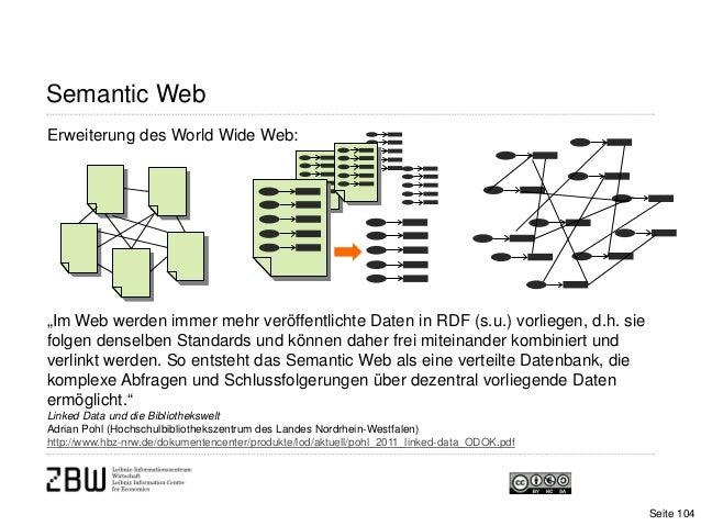 """Semantic WebErweiterung des World Wide Web:Seite 104""""Im Web werden immer mehr veröffentlichte Daten in RDF (s.u.) vorliege..."""