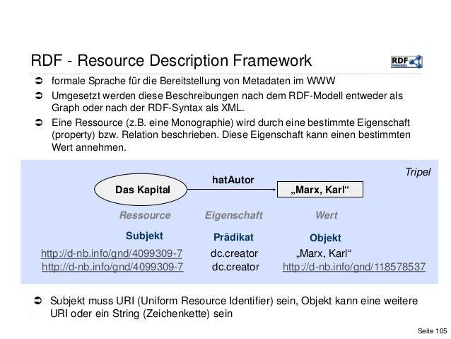  formale Sprache für die Bereitstellung von Metadaten im WWW Umgesetzt werden diese Beschreibungen nach dem RDF-Modell e...
