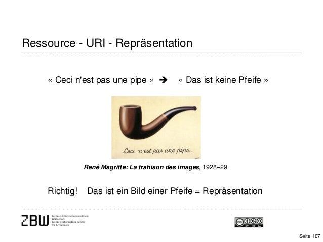 Ressource - URI - RepräsentationSeite 107« Ceci nest pas une pipe »  « Das ist keine Pfeife »René Magritte: La trahison d...