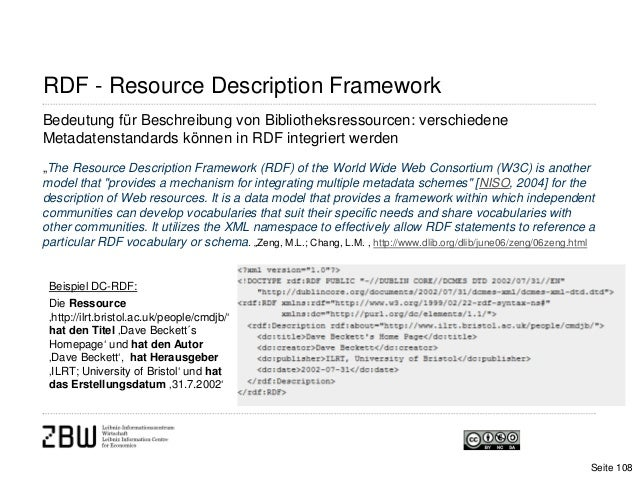 """Bedeutung für Beschreibung von Bibliotheksressourcen: verschiedeneMetadatenstandards können in RDF integriert werden""""The R..."""