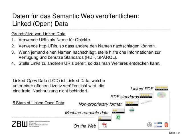 114Daten für das Semantic Web veröffentlichen:Linked (Open) DataGrundsätze von Linked Data1. Verwende URIs als Name für Ob...