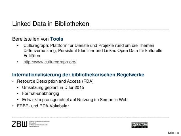Linked Data in BibliothekenBereitstellen von Tools• Culturegraph: Plattform für Dienste und Projekte rund um die ThemenDat...