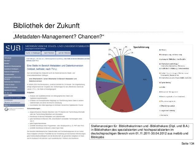 """Seite 134""""Metadaten-Management? Chancen?""""Bibliothek der ZukunftStellenanzeigen für Bibliothekarinnen und -Bibliothekare (D..."""