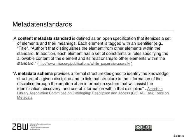 """Metadatenstandards""""A content metadata standard is defined as an open specification that itemizes a setof elements and thei..."""
