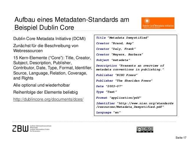 Aufbau eines Metadaten-Standards amBeispiel Dublin CoreDublin Core Metadata Initiative (DCMI)Zunächst für die Beschreibung...