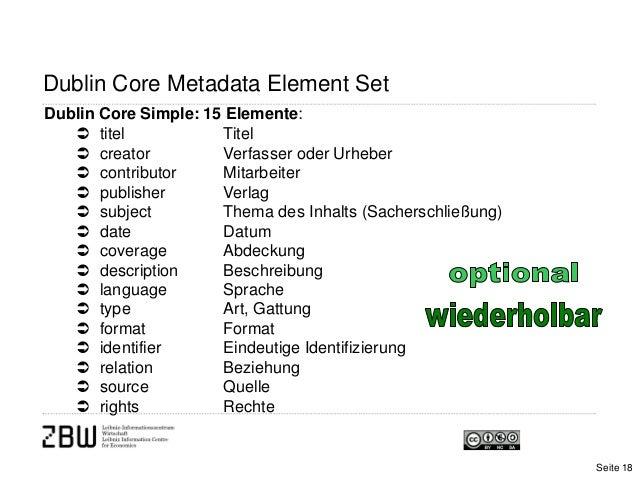 Dublin Core Metadata Element SetDublin Core Simple: 15 Elemente: titel Titel creator Verfasser oder Urheber contributor...