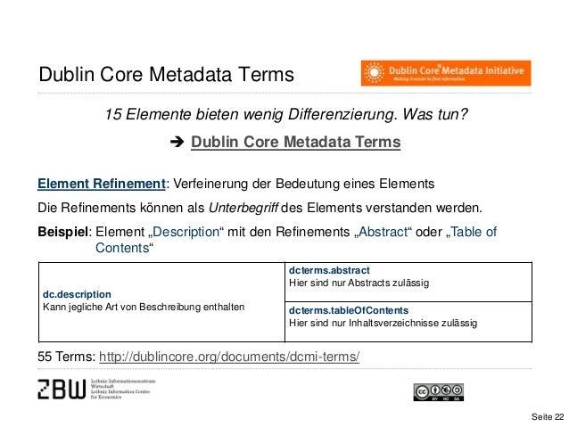 Dublin Core Metadata Terms15 Elemente bieten wenig Differenzierung. Was tun? Dublin Core Metadata TermsElement Refinement...