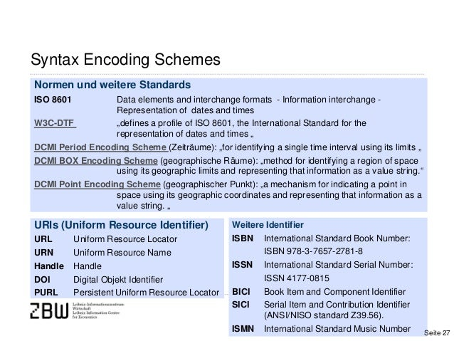 Syntax Encoding SchemesNormen und weitere StandardsISO 8601 Data elements and interchange formats - Information interchang...