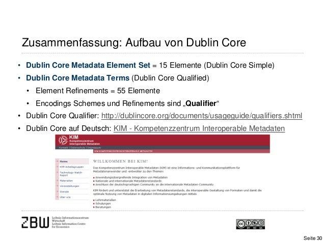 Zusammenfassung: Aufbau von Dublin Core• Dublin Core Metadata Element Set = 15 Elemente (Dublin Core Simple)• Dublin Core ...