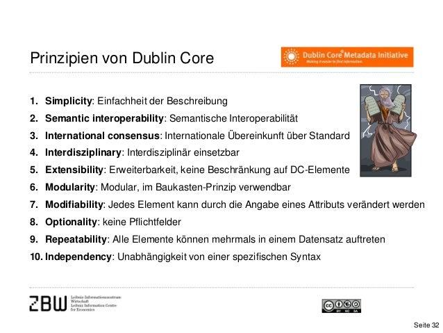 Prinzipien von Dublin Core1. Simplicity: Einfachheit der Beschreibung2. Semantic interoperability: Semantische Interoperab...