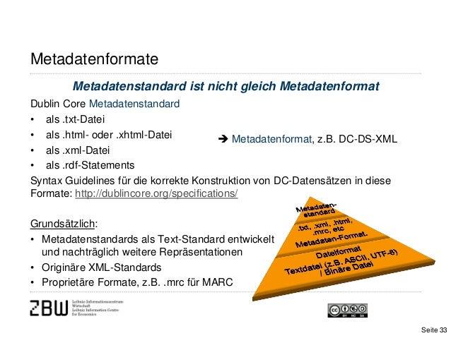 Metadatenformatebibliographisch / deskriptivMetadatenstandard ist nicht gleich MetadatenformatDublin Core Metadatenstandar...