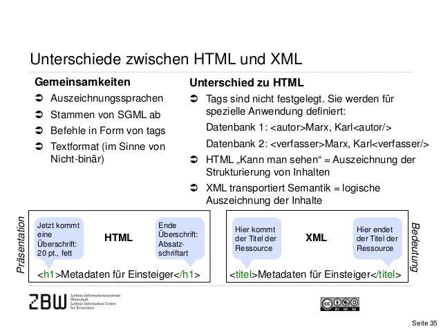Unterschiede zwischen HTML und XMLUnterschied zu HTML Tags sind nicht festgelegt. Sie werden fürspezielle Anwendung defin...