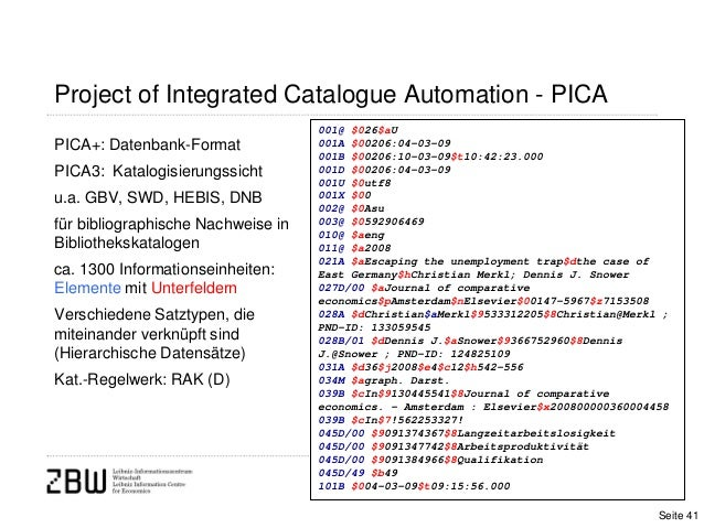 Project of Integrated Catalogue Automation - PICAPICA+: Datenbank-FormatPICA3: Katalogisierungssichtu.a. GBV, SWD, HEBIS, ...