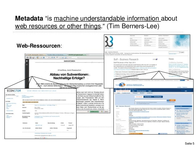 """Metadata """"is machine understandable information aboutweb resources or other things."""" (Tim Berners-Lee)Web-Ressourcen:Seite 5"""