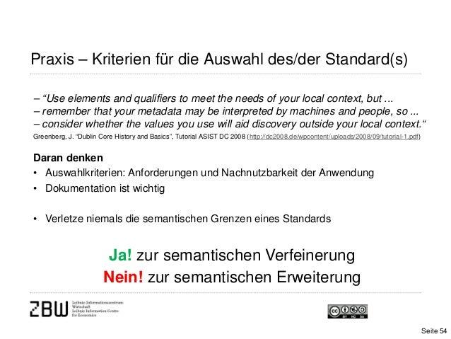 "Praxis – Kriterien für die Auswahl des/der Standard(s)– ""Use elements and qualifiers to meet the needs of your local conte..."