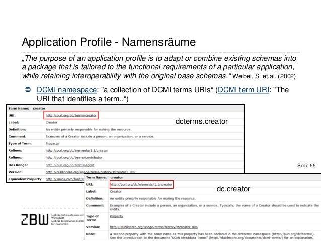 "dcterms.creatorApplication Profile - Namensräume DCMI namespace: ""a collection of DCMI terms URIs"" (DCMI term URI: ""TheUR..."