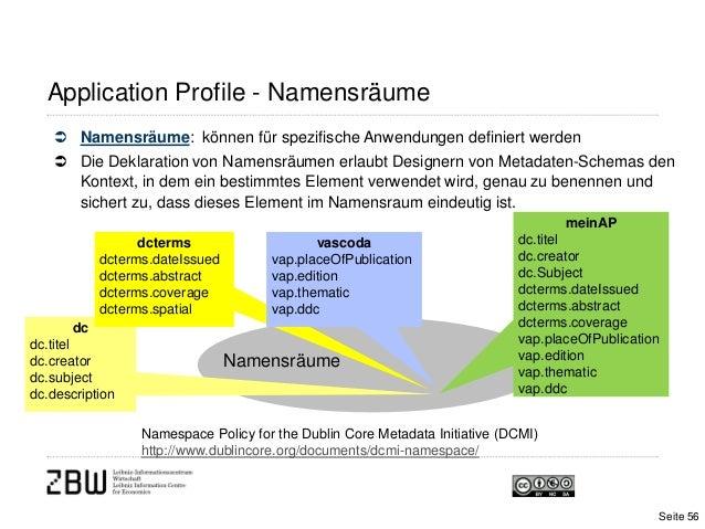 Application Profile - Namensräume Namensräume: können für spezifische Anwendungen definiert werden Die Deklaration von N...