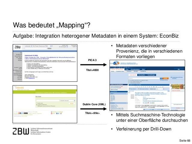 """Was bedeutet """"Mapping""""?Aufgabe: Integration heterogener Metadaten in einem System: EconBizDublin Core (XML)PICA 3Titel=400..."""