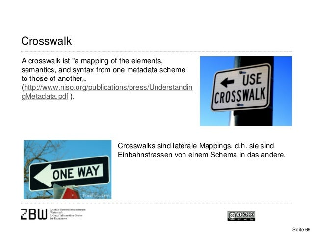 """CrosswalkA crosswalk ist """"a mapping of the elements,semantics, and syntax from one metadata schemeto those of another"""".(ht..."""