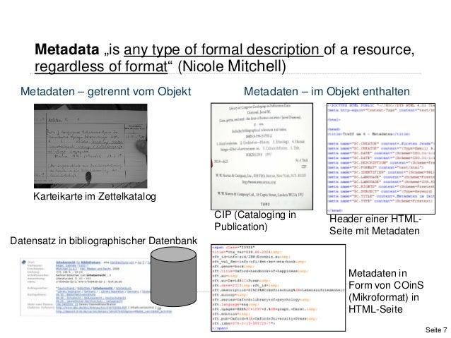 Karteikarte im ZettelkatalogMetadaten – getrennt vom Objekt Metadaten – im Objekt enthaltenCIP (Cataloging inPublication)D...
