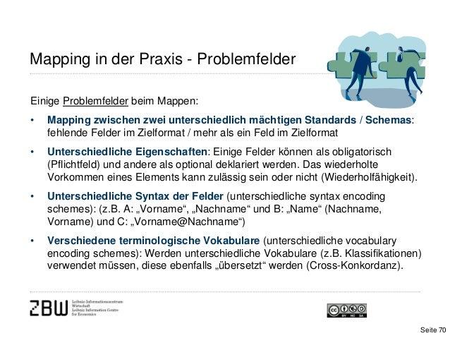 Einige Problemfelder beim Mappen:• Mapping zwischen zwei unterschiedlich mächtigen Standards / Schemas:fehlende Felder im ...