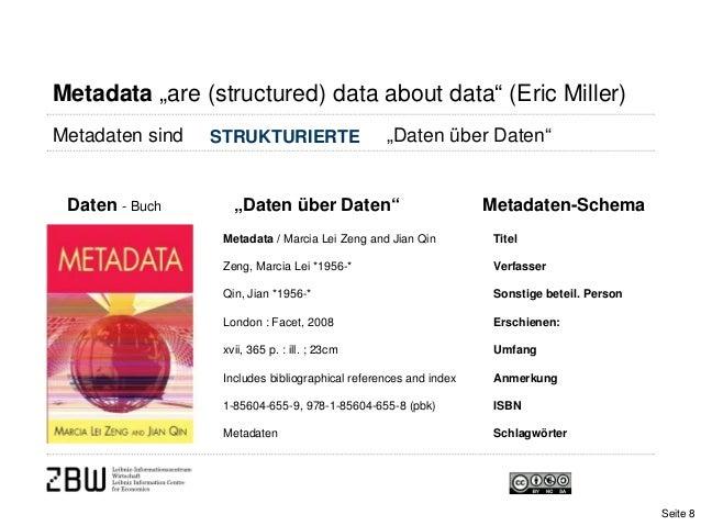 """Metadata """"are (structured) data about data"""" (Eric Miller)Metadaten sind """"Daten über Daten""""Daten - Buch """"Daten über Daten""""M..."""