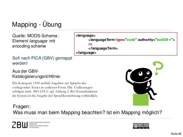 Mapping - ÜbungSeite 82Quelle: MODS-Schema:Element language mitencoding schemeSoll nach PICA (GBV) gemapptwerden!Aus der G...