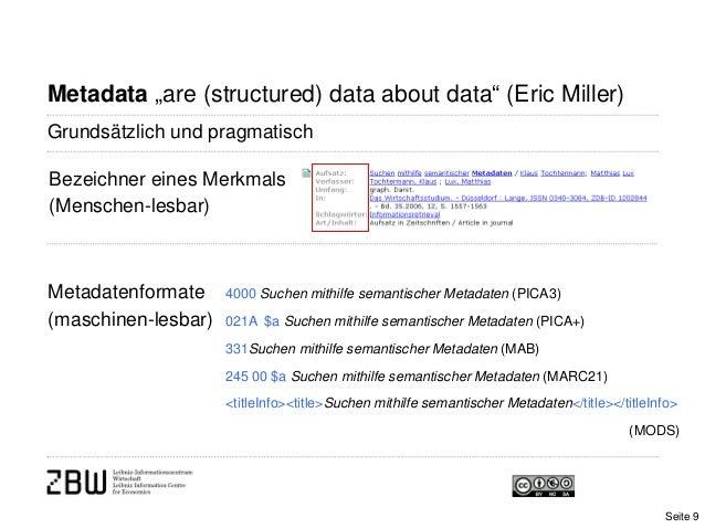 """Metadata """"are (structured) data about data"""" (Eric Miller)Metadatenformate(maschinen-lesbar)Bezeichner eines Merkmals(Mensc..."""