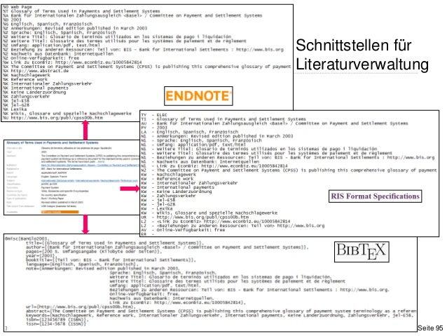 Schnittstellen fürLiteraturverwaltungSeite 95