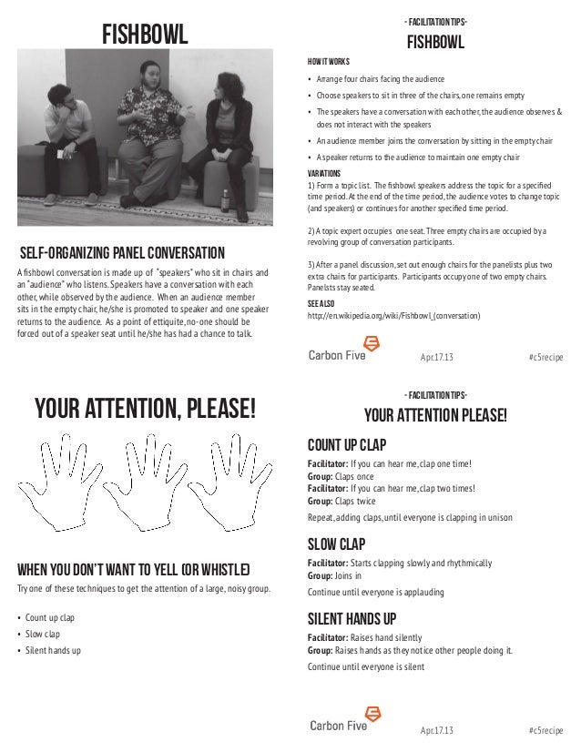 #c5recipeApr.17.13#c5recipeApr.17.13- facilitation tips-Your Attention Please!Count up clapFacilitator: If you can hear me...