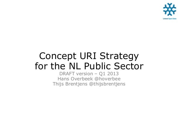 Concept URI Strategyfor the NL Public SectorDRAFT version – Q1 2013Hans Overbeek @hoverbeeThijs Brentjens @thijsbrentjens