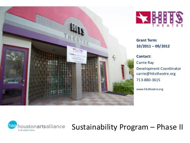 Sustainability Program – Phase IIGrant Term:10/2011 – 09/2012Contact:Carrie RayDevelopment Coordinatorcarrie@hitstheatre.o...