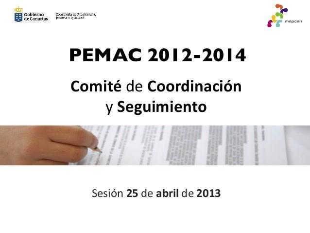 Comité de Coordinación  y Seguimiento Sesión 25 de abril de 2013 PEMAC 2012-2014