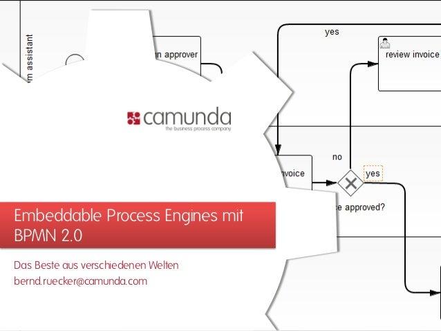 Embeddable Process Engines mitBPMN 2.0Das Beste aus verschiedenen Weltenbernd.ruecker@camunda.com