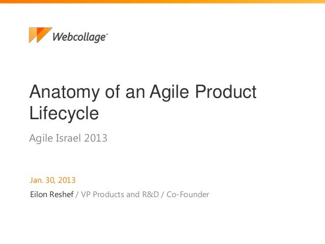 1Agile Israel 2013Anatomy of an Agile ProductLifecycleJan. 30, 2013Eilon Reshef / VP Products and R&D / Co-Founder