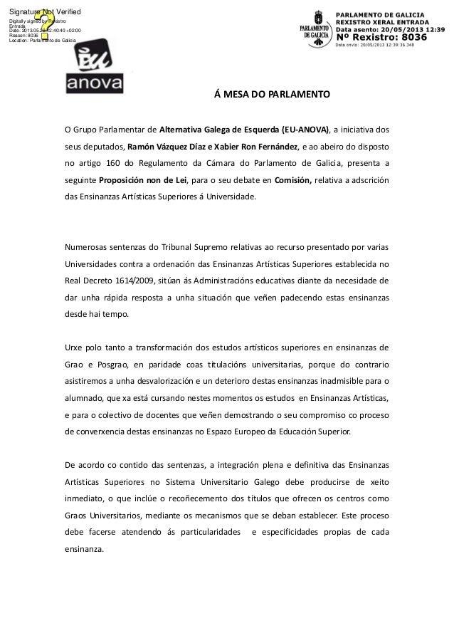 Á MESA DO PARLAMENTOO Grupo Parlamentar de Alternativa Galega de Esquerda (EU-ANOVA), a iniciativa dosseus deputados, Ramó...