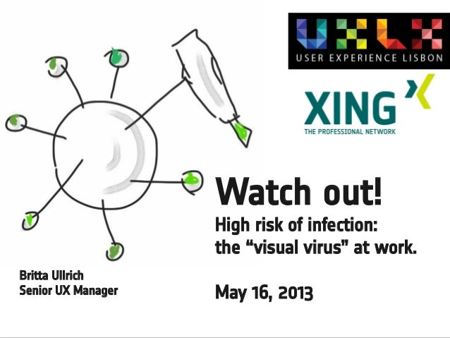 "Watch out! High risk of infection: the ""visual virus"" at work. Britta Ullrich Senior UX Manager  May 16, 2013"