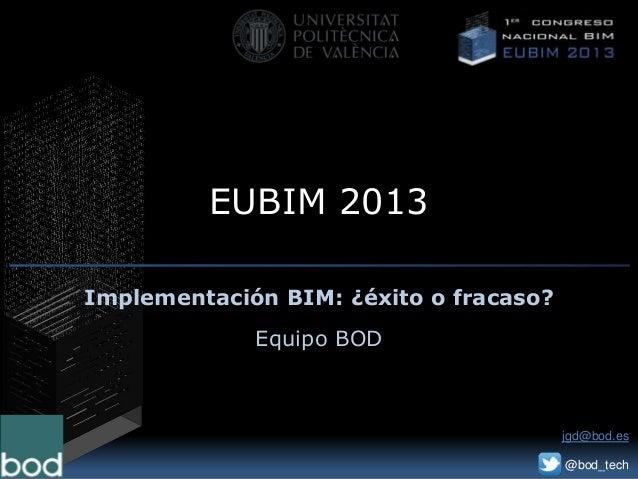 EUBIM 2013Implementación BIM: ¿éxito o fracaso?Equipo BODjgd@bod.es@bod_tech