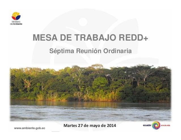 MESA DE TRABAJO REDD+ Séptima Reunión Ordinaria Martes 27 de mayo de 2014