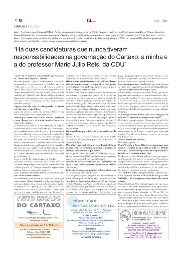 Entrevista de Vasco Cunha - Jornal Fundamental (Junho de 2013