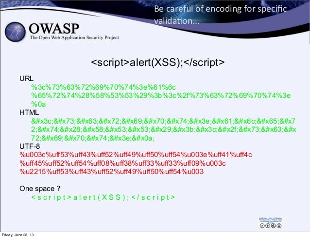 Be  careful  of  encoding  for  specific   valida0on... URL %3c%73%63%72%69%70%74%3e%61%6c %65%72%74%28%58%53%5...