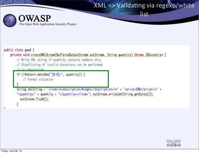 XML  =>  ValidaPng  via  regexp/white   list 128 Friday, June 28, 13