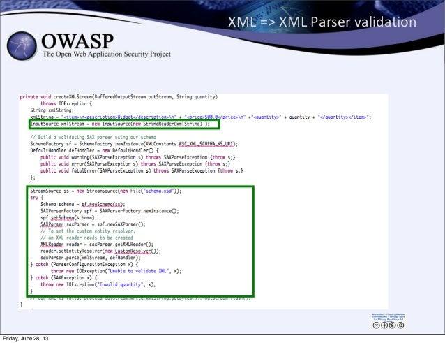 XML  =>  XML  Parser  validaPon Friday, June 28, 13