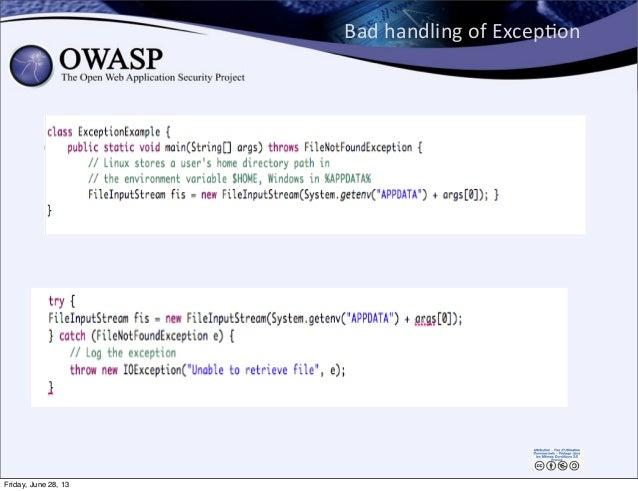 Bad  handling  of  ExcepPon 144 Friday, June 28, 13