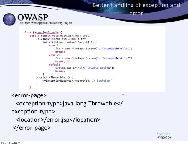 BeEer  handling  of  excepPon  and   error 145 <error-‐page>       <excepPon-‐type>java.lang.Throwable</...