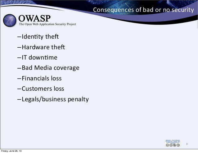 Consequences  of  bad  or  no  security –IdenPty  theQ –Hardware  theQ –IT  downPme   –Bad  Media  c...