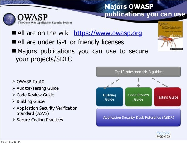 Majors OWASP publications you can use All are on the wiki https://www.owasp.org All are under GPL or friendly licenses ...