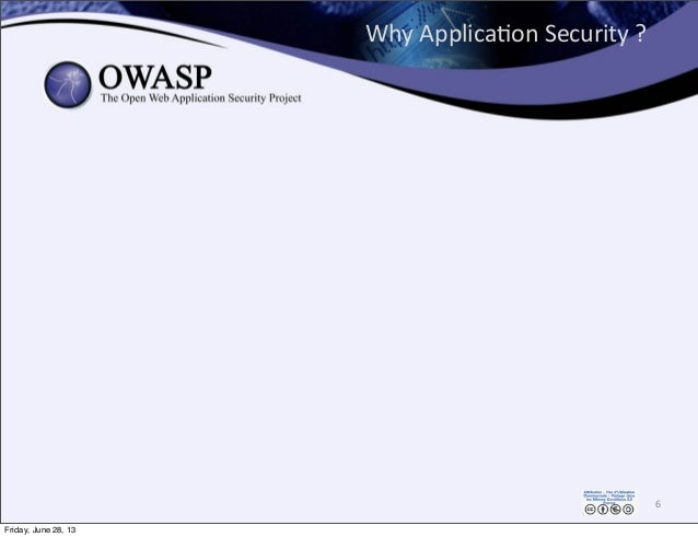 Why  Applica0on  Security  ? 6 Friday, June 28, 13