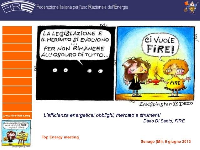 www.fire-italia.org Lefficienza energetica: obblighi, mercato e strumentiDario Di Santo, FIRETop Energy meetingSenago (MI)...