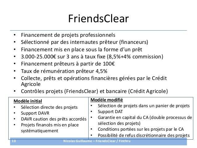 FriendsClear• Financement de projets professionnels• Sélectionné par des internautes prêteur (financeurs)• Financement mis...